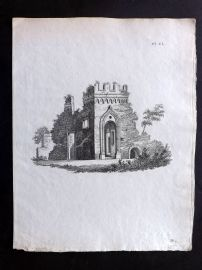Anon C1800 Antique Print. Study of an Abbey 150